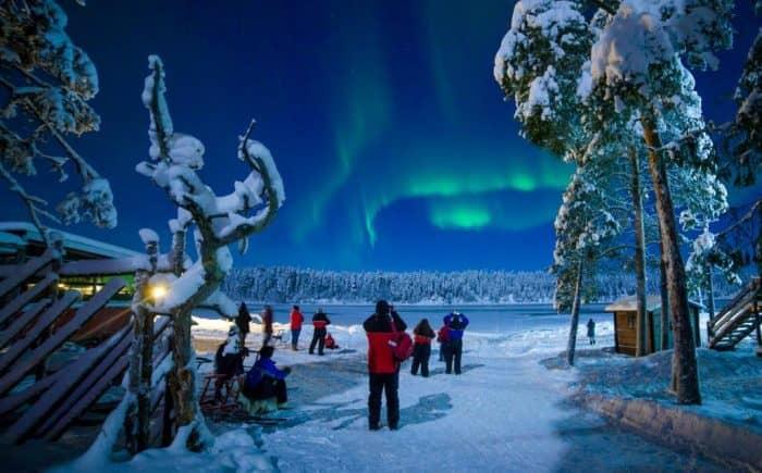 Северное сияние в Лапландии